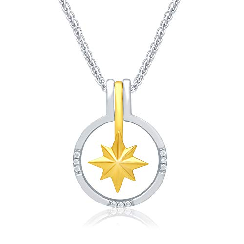 (UNIVERSE FINE JEWELRY Diamond-Accent Star Center Removable Circle Frame Pendant Necklace Inspired by Marvel's Captain Marvel)