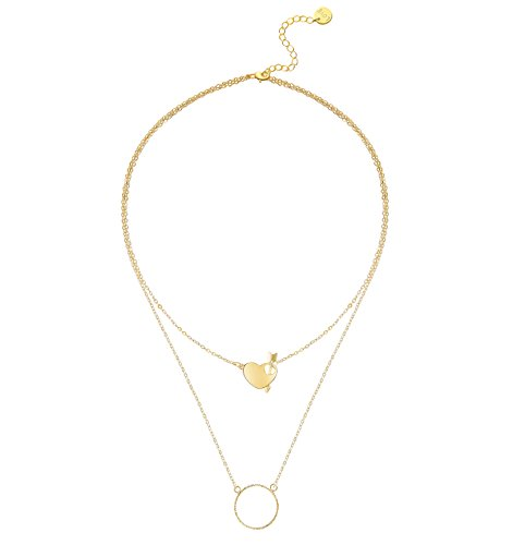 Layered Pendant Necklaces,18K Gold Plated Karma Dainty Arrow Heart Handmade Circle Pendant Necklaces Jewelry Gift for Women