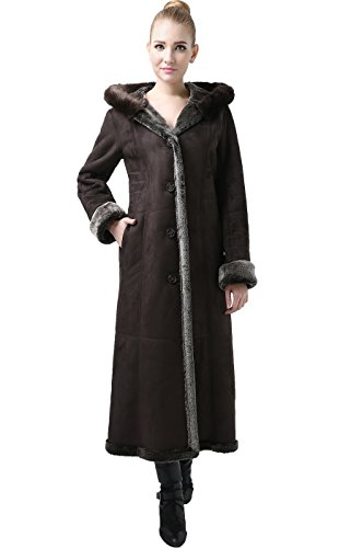 BGSD Women's Pauline Hooded Faux Shearling Maxi Coat - Chocolate/Light Brown M