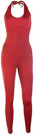 レディースジャージ上下セット 空中ヨガトレーニングスポーツジャンプスーツタイトな通気性と速乾性ハンギングネックジャンプスーツ (色 : 赤, サイズ : S)