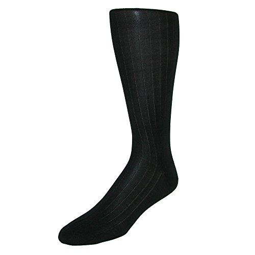 CrookhornDavis Men's Silk Over the Calf Formal Sock, Black