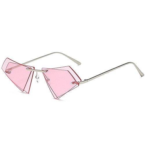 Gafas Gafas Sol Lente Peggy Gafas Sol Sol Doble sin de Unisex de Color Personalidad Protección Marco UV Hombres de Irregular Gris de Gu para Mujeres Viajar Conducir Rosado Sol para Gafas BBrx5Sq