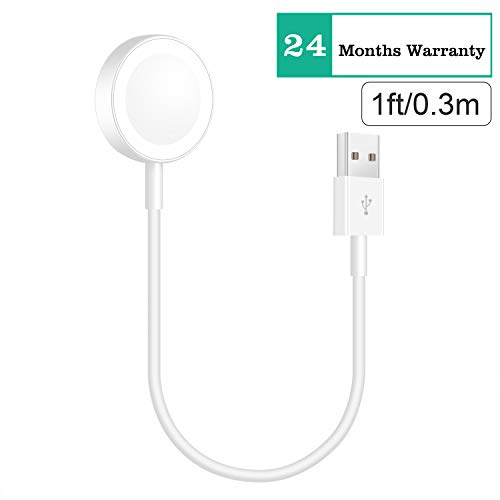 ADDSMILE Short Watch Charging Charger Cable Compatible for Apple Watch Series 1 2 3 38mm 42mm White(1 Foot/0.3 Meters)