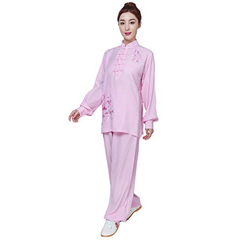 ZHL&M Women Tai Chi Uniform - Manual Embroidery Shaolin Martial Arts Clothing Cotton Linen Kung Fu Taekwondo Training Clothing for Women's Beginners Tai Chi Exercise,Pink,XL