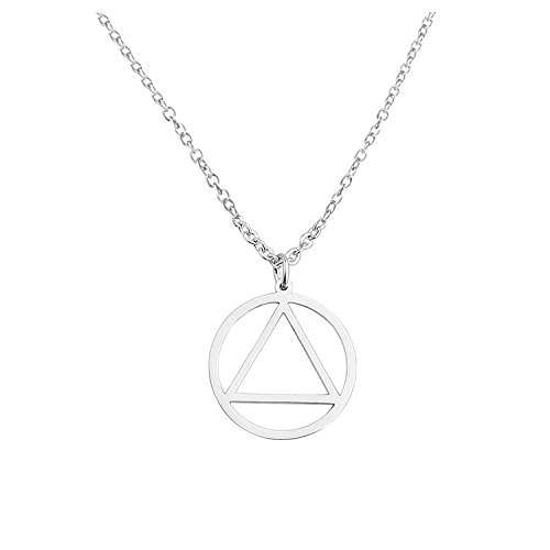 KUIYAI Recovery AA Necklace Keychain Alcoholics Anonymous Gifts for Men Women (2cm Diameter AA ()