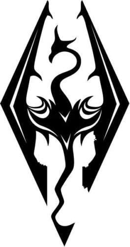 Tall Gloss White Color Skyrim Dragons Game Car Truck Window Bumper Vinyl Graphic Decal Sticker- 15 cm 6 inch //