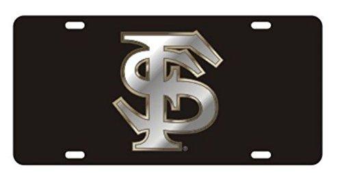 (FLORIDA STATE Seminoles Laser Cut Inlaid Mirrored Silver FS Black Plate)