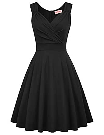 Belle Poque Women's 1950s Sleeveless V Neck Vintage Cocktail Dress for Party - Black - Small