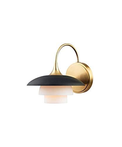 Hudson Valley Lighting 1011-AGB Barron 1 Light Wall Sconce, Aged Brass, Black