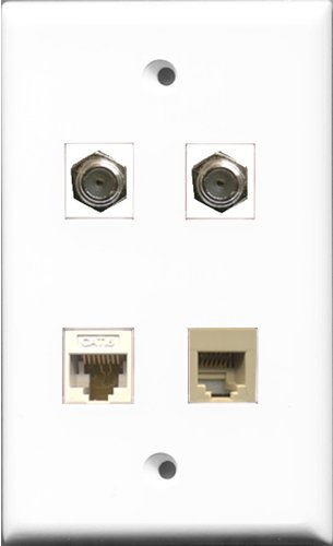 RiteAV - 2 Port Coax Cable TV- F-Type and 1 Port Phone RJ11 RJ12 Beige and 1 Port Cat6 Ethernet White Wall Plate