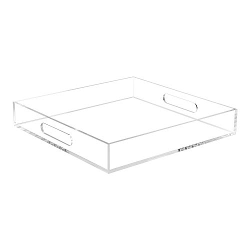 Clear Sturdy Acrylic Serving Tray with Handles-12x12x2H Inch-Thickness of 5mm- Countertop Organizer Tray for Kitchen,Bathroom,Office,Bar- Storage Box for Cosmetics, Jewelry,Toiletries,Toy,gadgets