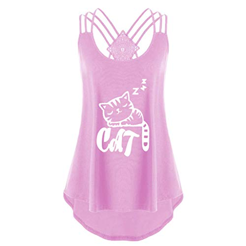 Sunhusing Women Summer Cute Lazy Kitten Printed Sleeveless Tank Tops Back Cross Bandage Lace Up Vest Shirt Pink]()