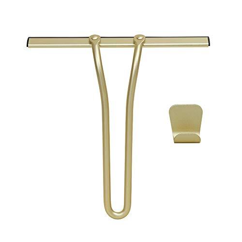 All-Purpose Shower Squeegee Bathroom Shower Room Scraper Gold Wiper with Hook Mirror -
