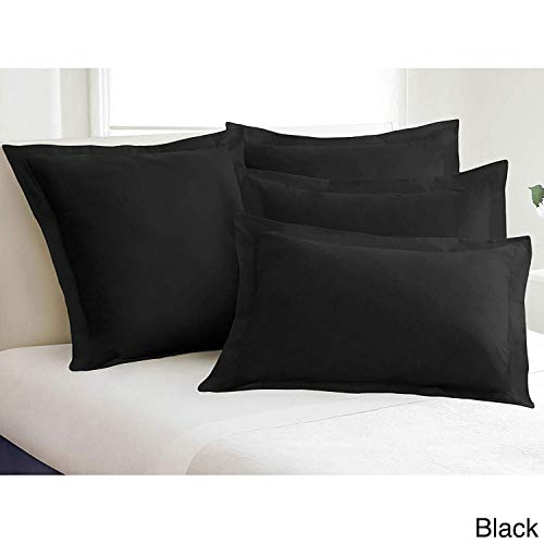Pillow Shams Set of 2 - New 550 Thread Count Natural Cotton Euro Pillow Shams with 2 inch Border (Black, Standard 20x30)