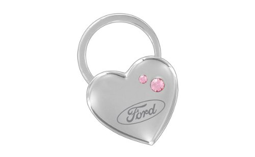 Ford Heart Shape Keychain 2 Pink Crystals Key Chain ()