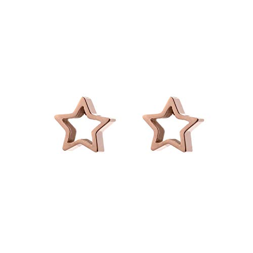 Jinsen 14K Gold Plated Stainless Steel Tiny Cut Out Hexagon Stud Earrings Geometric Jewelry (js000011) (Star)