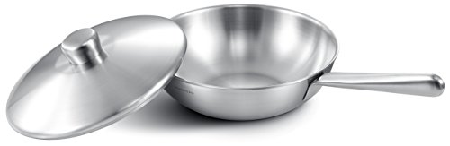 SERAFINO ZANI IHC CURIE Series Temperature Controlled 230℃ (466°F) 18/10 Stainless Steel 28CM (11-Inch) Stir-Fry Wok/ Chefs Pan with Cover (The Thermostat Just For Induction Cooktop) by SERAFINO ZANI