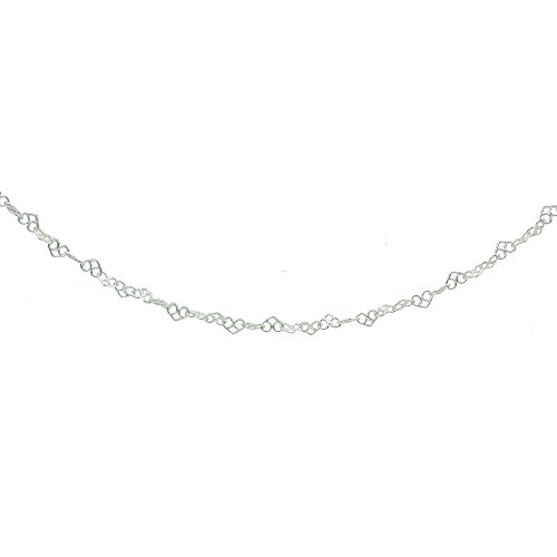 Sterling Silver 3.5mm Intertwining Hearts Link Chain Choker Necklace