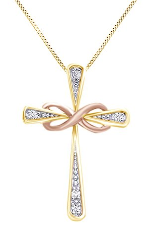 White Natural Diamond Accent Two Tone Infinity Cross Pendant Necklace 14k Yellow Gold Over Sterling Silver