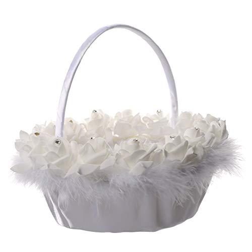 PatyHoll Satin Wedding Flower Girls Basket Romantic Cute Crystal Floral Decor Supplies Sale