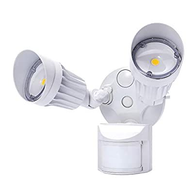 JJC Security Lights Motion Outdoor Floodlight LED Dusk to Dawn 180 Degrees 20W(120W Equiv.)5000K-Daylight 2000LM,DLC Certified&ETL-Listed Lighting for Garage Yard Garden Porch...