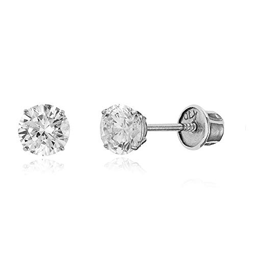 10k White Gold 4mm Basket Round CZ Cubic Zirconia Solitaire Children Screw Back Baby Girls Earrings