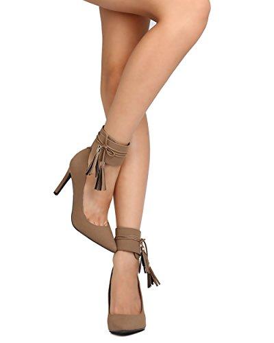 Breckelles GA76 Women Nubuck Pointy Toe Tasseled Ankle Cuff Pump