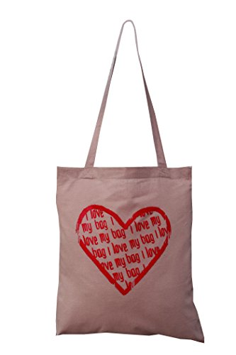 love Heart 'I my love bag' cotton brown 'I bag tote aq7SaTw