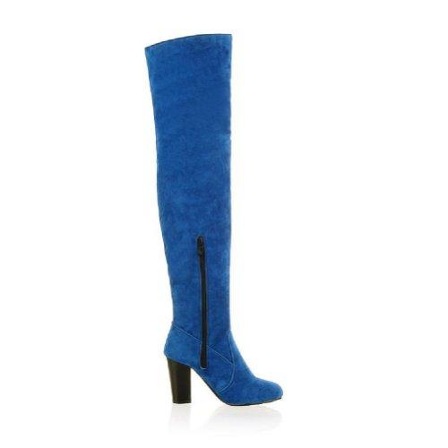 Charme Pied De Mode Femmes Talon Chunky Sur Les Bottes De Genou Bottes Western Bleu