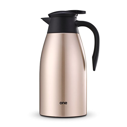 ONE 2 Litre 70oz Stainless Steel Vacuum Jug, Double-Wall Vacuum Insulated Thermos, Hot Tea Coffee Drinks Pot Thermal Jug, Leak Proof Coffee Tea Hot & Cold Drinks Beverages Teapot (Champagne - Tea Champagne