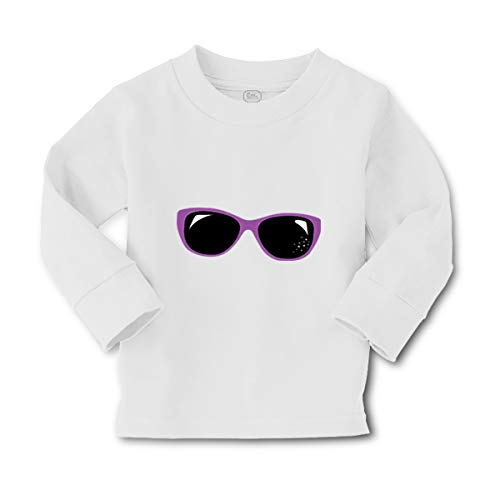 London Doll Purple Sunglasses Long Sleeve Crewneck Toddler Boys-Girls Cotton T-Shirt Tee - White, ()