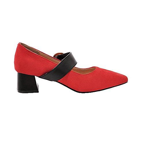 VogueZone009 Women's Kitten-Heels Soild Buckle Closed-Toe Pumps-Shoes Red GmtMW