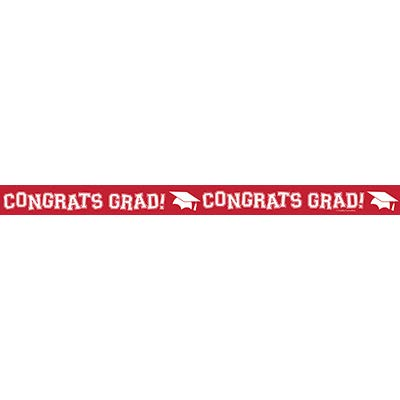 30 Feet Congrats Grad! Classic Red Crepe Streamer | Graduation Party Mortarboard Decorations