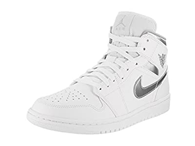Jordan Nike Men's Air 1 Mid White/Metallic Silver White Basketball Shoe 9 Men US