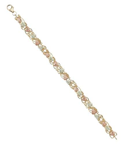 Filigree Leaf Bracelet, 10k Yellow Gold, 12k Green and Rose Gold Black Hills Gold Motif, 7'' by Black Hills Gold Jewelry