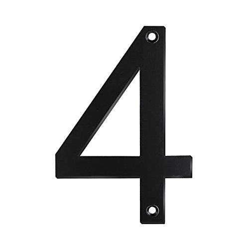 (Mellewell House Address Numbers Door Metal Sign Digits 5 Inch Stainless Steel Black, Number 4 Four, HN05HB-4-S)