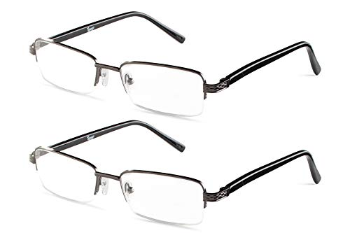 Half Rimmed Rectangular 2 Gunmetal Reading Glasses +2.50 Set ()