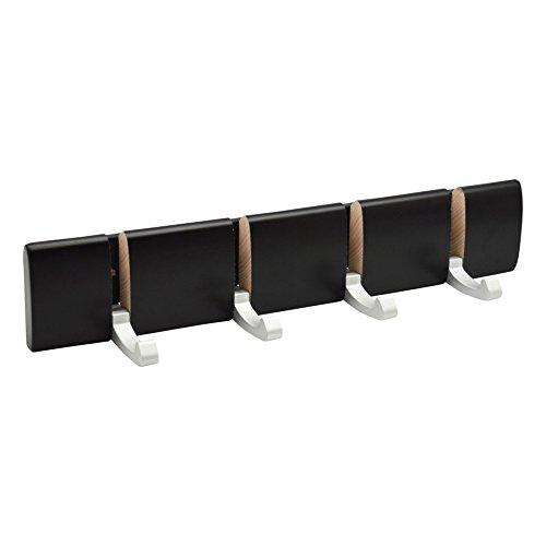 Top Harbour Housewares 4 Hook, Wall Mounted Coat Rack - Foldaway Metal Hooks - Black supplier