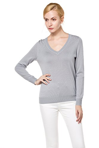 Buy grey v neck sweater with dress shirt - 4