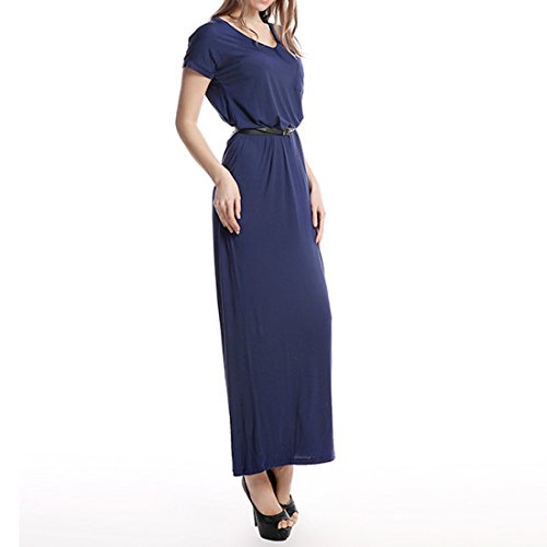 Manica Sciancrata Nuove Magro Scuro Lungo Blu Blu Xs xxl Maxi Donne Corta Vestito Navy Collo V nwUr0tAUq8