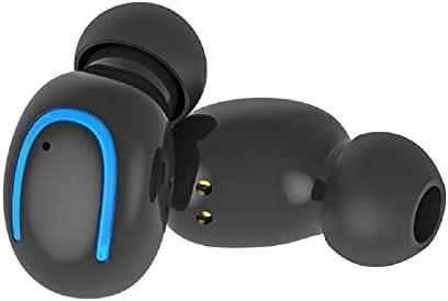 Chennong 充電ケース内蔵マイクヘッドセット付き軽量ワイヤレスBluetoothインイヤーイヤホンヘッドフォン (Color : Black)