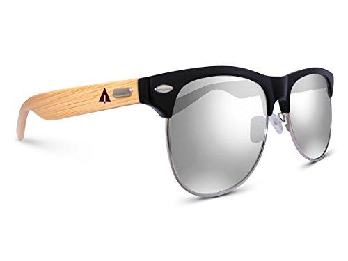 - TREEHUT Wooden Bamboo Sunglasses Temples Half Frame Rim, Silver Lenses