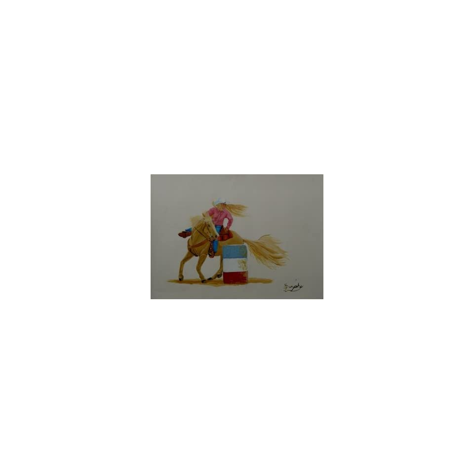 Cowgirl Barrel Racer, Original Painting, Home Decor Artwork