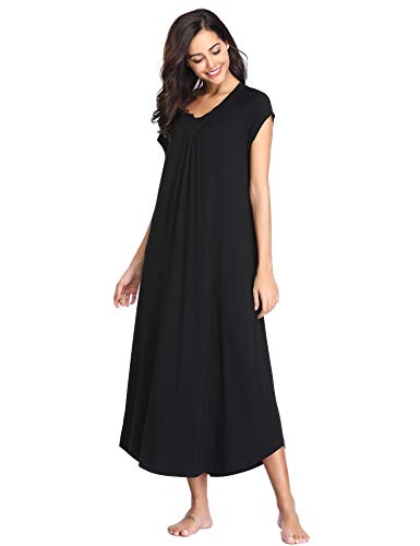 Lusofie Long Nightgown Women's V-Neck Sleepwear Cap Sleeve Soft Nightshirt with Eye Mask (Black,L) -