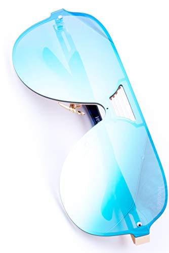 Lunettes de Soleil Aviateur pour Homme VERDSTER TourDePro – Protection UV – Étui, Poche et Chiffon Inclus (Adultes/Grandes, Bleu/Doré)