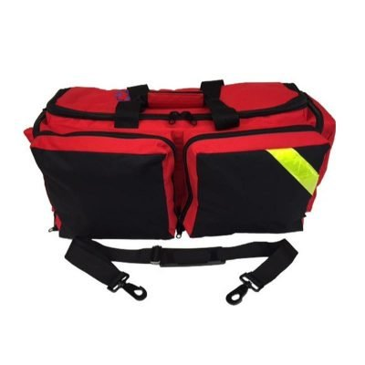 (LINE2design EMS Oxygen Bag - Deluxe Medical Portable O2 Supply Ambulance Gear Bags - All Impervious Fully Padded Bag with Yellow Reflective Trim & Shoulder Strap - Red)