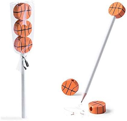 Lote 30 lápices con 3 Gomas de borrar balón de Baloncesto. Regalos Infantiles para Todo Tipo de Eventos.