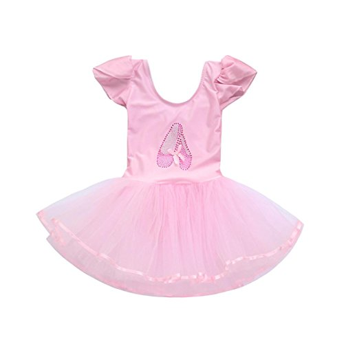 Lisin Toddler Girls Gauze Leotards Ballet Bodysuit Dancewear Dress Clothes Outfits (Pink, Size:5Years) from Lisin