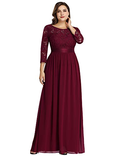 Ever-Pretty Womens Plus Size Wedding Party Mother of The Groom Dresses for Women Burgundy US 16