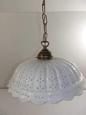 Lámpara de techo de latón con cadena y plato cerámica perforada 32 ...